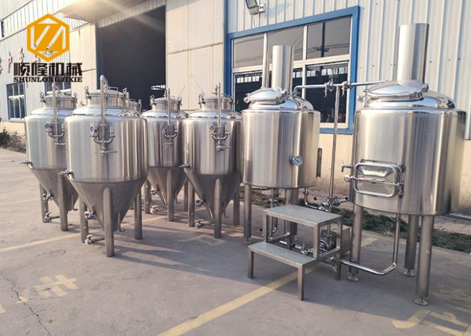 Electric Heating Small Brewery Equipment 200L With 8 Fermentation Tanks