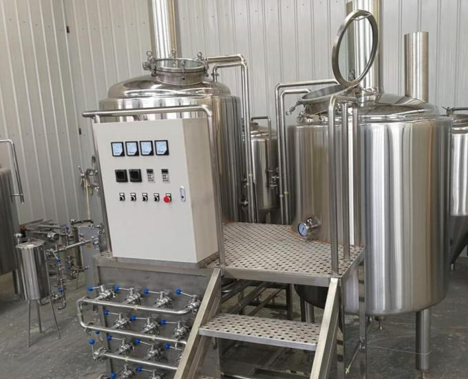 500L Semi Automatic Small Brewery Equipment Two Vessels With Steam Condenser