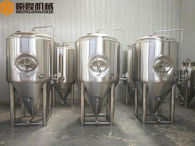 1000L Beer Fermentation Tanks , Stainless Steel Double Jacket Tank Fermenter With Dry Hopping