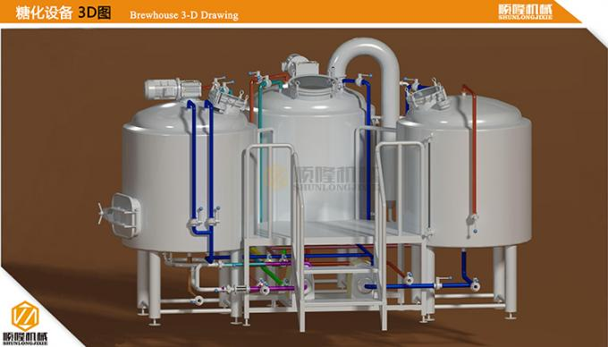 200L Microbrewery Brewing Equipment , Stainless Steel Complete Brewing System