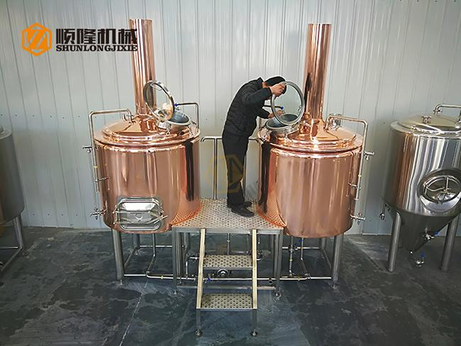 Durable 2 Vessel Brewing System 5HL Red Copper Brewhouse For Brew Pub