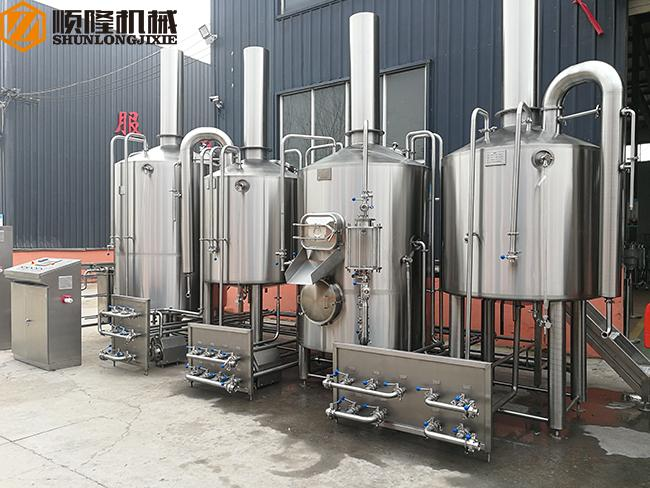 PLC Control Beer Production Line Auto 1500KL Steam Heating Stainless Steel Material