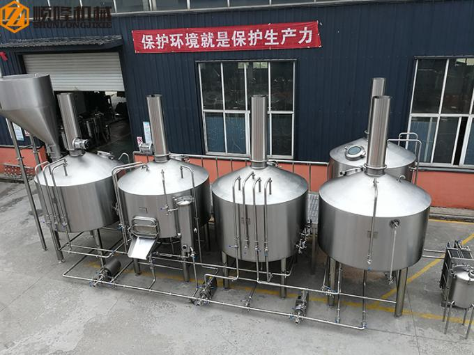 PLC Control Stainless Steel Beer Brewing System , Beer Making Equipment Steam Heating