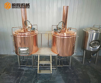 China 3HL Red Copper Beer Brewing Equipment With Electric Temperature Control supplier