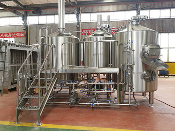 China 1000L Micro brewery Equipment Steam / Gas Heated brewhouse semi automatic control stainless steel distributor